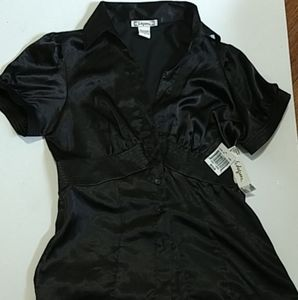 6 degrees-black button up dress shirt nwt